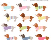 Whimsical Dachshunds Clipart Set - cute dogs with sweaters, pastel, dogs clip art - personal use, small commercial use, instant download