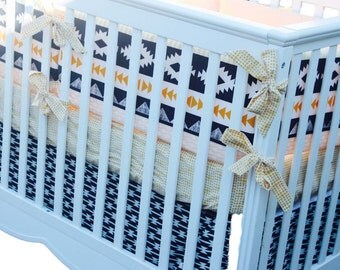Baby Boy Southwestern Bedding - Aztec Baby Bedding - Custom Crib Bumper - Bumperless Baby Bedding - Navy and Gold Nursery - Crib Rail Guard