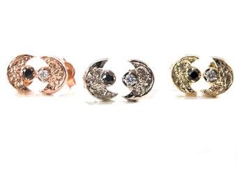 Day and Night Diamond Moon Stud Earrings - Black and White Diamonds