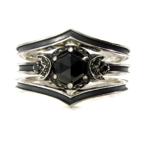Black Silver Midnight Moon Engagement Ring Set - Rose Cut Black Spinel and Black Diamonds - One or Two Side Bands