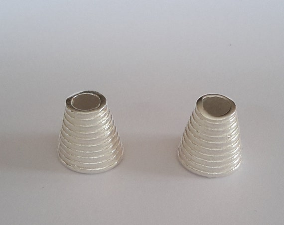 Sterling silver bright bead caps end cap cone large