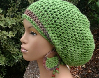 MADE TO ORDER Grass Green and Earth Tones Slouch hat/deadlock hat with drawstring wooden beads/ free crochet earrings/ adjustable