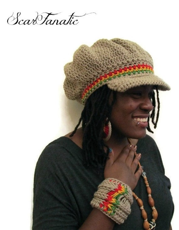 Easy Crochet Rasta Hat Pattern : PATTERN ONLY Easy Crochet Rasta Brimmed Beanie/Newsboy Hat ...