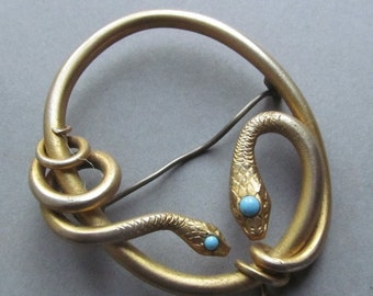 ON SALE Antique Gold Filled Snake Sash Pin Brooch Jewelry
