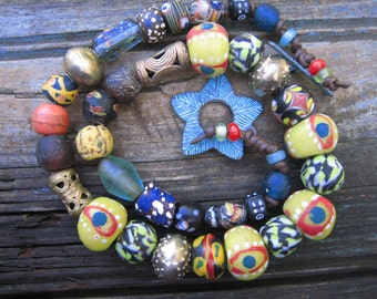 AFRICAN TRADE BEAD Necklace leather cord bright bold statement