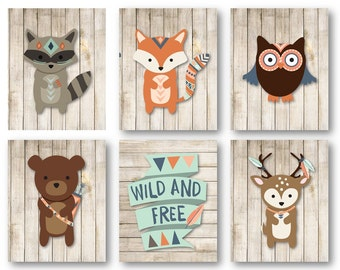 Woodland Nursery Art - Woodland Animal Art - Woodland Nursery Decor - Forest Animals Nursery - Animal Wall Art - PRINTS ONLY