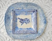 Blue and White Porcelain, Plate and Platter Set, Lace pottery, Pottery platter, Modern Flow Blue, Ceramic Platter, bird plate, Cobalt blue