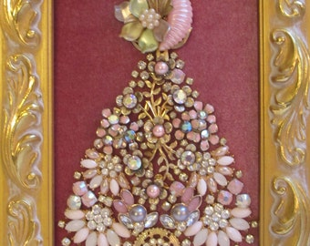 Jeweled Framed Jewelry Christmas Tree Gold Rose Pink Vintage
