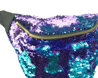 Teal and Purple sequin fannypack, metal ykk zipper. Bumbag burning man SAPPHIRE
