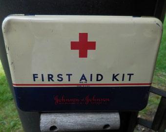 Vintage 1950s to 1960s Johnson & Johnson Leader First Aid Kit Dark Blue/Red/White Tin Hinged Box Bathroom Decor