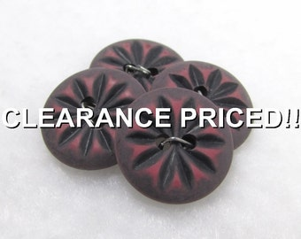 """CLEARANCE! Soft Gray & Pink Sunbursts: 9/16"""" (14mm) Buttons - Set of 4 Matching New / Unused Vintage Buttons - Treasury Item"""