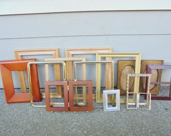 Vintage Lot of 13 PICTURE FRAMES Ornate / Modern Metal / Brass / Wood / Gold Gilt Shabby Chic Wedding Romantic Wall Hangings