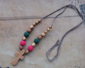 FLASH SALE SALE Nursing/Teething Necklace with a Cross pendant - apple wood - hot pink & green