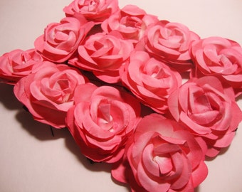 Bright Pink Fuchsia Paper Roses Flowers Large