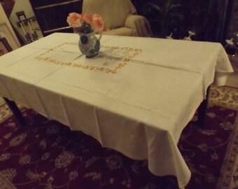 "Sale Huge  linen tablecloth 85.5""x 60""/ 217 cm x 152.5 cm Big family Banquet wedding Gift"