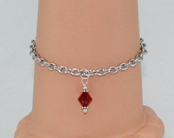 Chain bracelet, red Swarovsky crystal charm, ruby red crystal, hypoallergenic jewelry