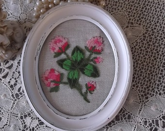 Shabby Vintage, needle point, oval framed wall art, pink clover, vintage needle work 1970s