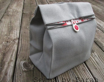 LARGE Grey-  Cloth lunch bag   // Re-useable lunch sack // washable lunch bag