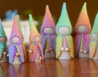 Waldorf Steiner inspired gnomes (3) Peg gnomes- Felt Waldorf/Steiner toys- Waldorf dolls- felt gnomes -Seasonal table-Debs Steiner Dolls