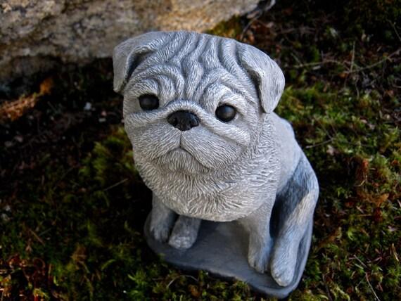 Pug Statue, Concrete Painted Pug, Cement Dog Figure, Pet Memorial, Cast  Stone Pugs For Home Or Garden, Dog Statue, Garden Statues, Cement.