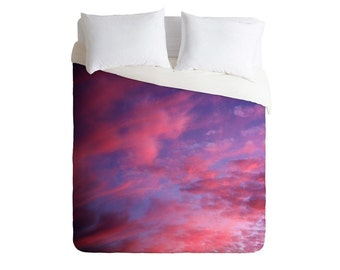 Duvet Cover. Bedding.  Bedroom Decor. Sunset Sky. Pink Purple Blue. Dreamy. Dorm Decor. Clouds. Nature. College Decor. Home decor