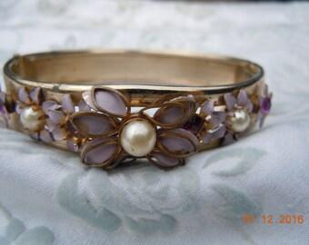 Vintage Lavender and Gold Tone Cuff Bracelet