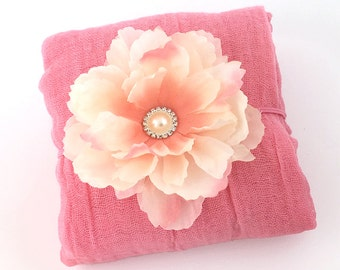 Petunia Pink Cheesecloth Wrap with Pink, Blush Headband,  Cotton Wrap for Newborn Prop Photography Prop, Baby Shower Gift