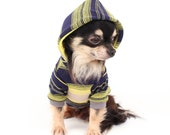 Dog Clothes Navy and Yellow Stripe lightweight Spring Hoodie for Dogs