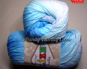 Cotton Baby Yarn: It's a boy. Light Weight, Alize Bella Batik Design in blues and greens. col. 2130