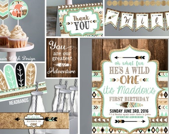Wild One Birthday Invitation -with Decor - brown mint teal and gold - Tribal - First Birthday Party - BOY - Printable Invite and Decor