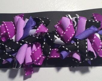 Purple, black & white- 2 inch bows