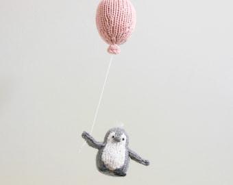 Penguin Baby Mobile, Balloon Mobile, Penguin Nursery Mobile, Gray Pink Nursery Mobile, Balloon Hanging Mobile, Baby Mobiles, Ornament
