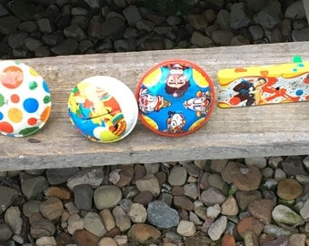6 Vintage Tin Toy Noise Makers Litho US Metal Toy Makers Manufacturing Co