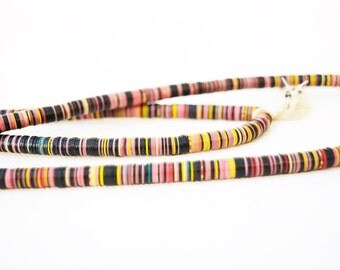 Antique Vulcanic Record Beads Necklace Africa 1900s Extra Long Strand