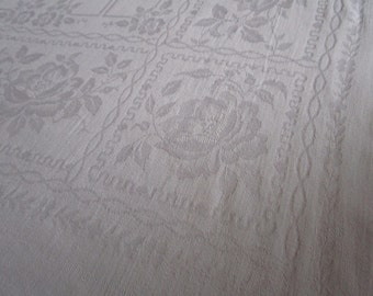Large Vintage French White Damask Tablecloth Roses Banquet Fine Dining Christening Wedding 60 x 94 Inches