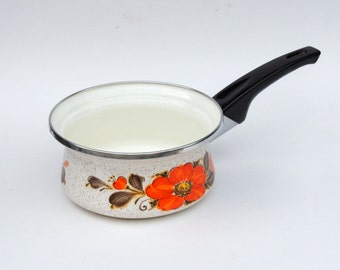Sanko Ware Pan, Orange Flowered Enamelware Pan, Show Pans Quart Sauce Pan, Retro Cookware