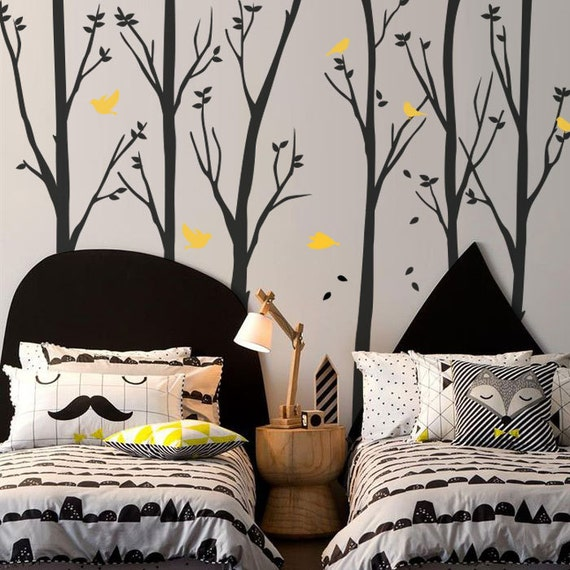 NEW DESIGN, Wall decals, 6 Trees with Flying Birds - Removable Wall Vinyl Decal