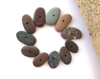 Stone Beads Center Drilled Rock Mediterranean Pebbles River Stone Diy Jewelry Stone Cairn Small Toggle Beads COLOR MIX 19-28 mm
