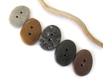 Stone Buttons Mediterranean River Rock Pebble Natural Stone Organic Diy Knitting Sewing Craft Supplies Elliptical SPICY BUTTONS 29-31 mm