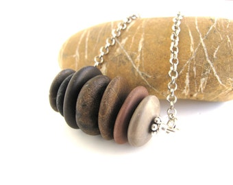 Beach Stone Cairn Necklace Stone Necklace Rock Jewelry Mediterranean Natural Stone Jewelry River Stone Necklace Silver - 7 HEAVEN