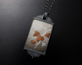 Japanese art pendant, the moon and the leaves Keum Boo silver pendant necklace