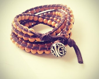 wrap bracelet leather bracelet  custom bracelet  beaded wrap beaded bracelet boho bracelet wood bracelet wood jewelry natural bracelet