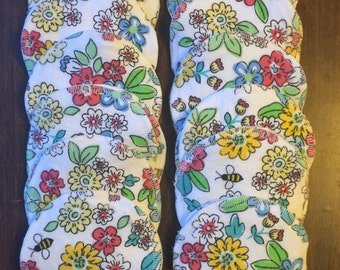 Nursing pads/Facial Wipes 12 sets (24 total) made with 4 layers of 100% cottlon fun flower pattern