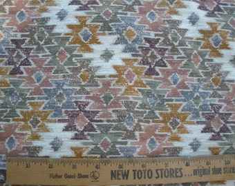 "Muted Aztec print Barkcloth Fabric 3 yards Woven Southwestern Tribal 42""W x 112"" cotton Designed by Kesslers Concord Fabrics geometric bags"