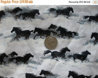 "Wild Horses Fabric 2.88 yards Black Gray White screen print on white 45""W x 104""L Springs Industries Cotton Sewing calico quilt fabric"