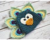 Sample Sale  - Newborn Size Crochet Peacock Hat