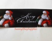 "Santa Ribbon, ""Merry Christmas""  Ribbon, Black Satin style, Wide and Wired, Black White, Red, 2 YARDS, 2.5 inch wide, Santa Claus Ribbon"
