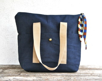 Denim zipper tote bag shoulder large made in sturdy dark blue canvas and camel handles with foulard zip