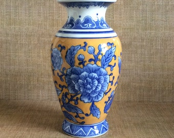 Vintage Blue and Yellow Vase--Ceramic Floral Vase--Chinoiserie Vase