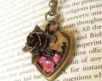 Heart Pendant (HP601) - Bronze Filigree Heart with Rose and Butterfly - Swarovski Crystals in Mickey Ear Pattern